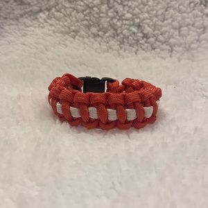 Handmade Red and White Paracord Bracelet